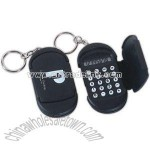 Key chain with miniature full function calculator