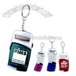 Key ring with calculator and translucent flip cover