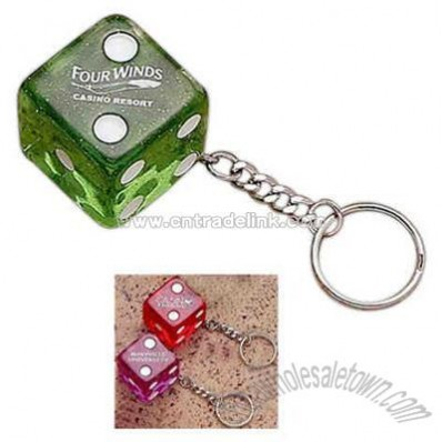 Key tag with acrylic jumbo dice