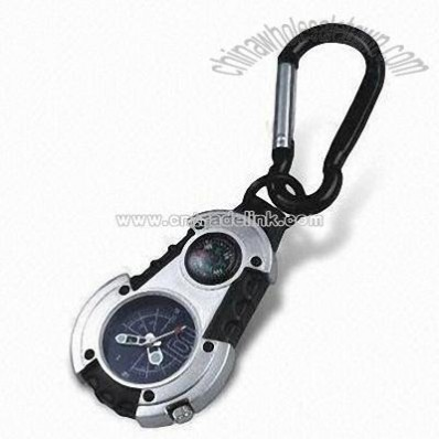 Keychain Watch with Compass and Carabiner