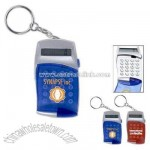 Keychain calculator with hinged cover and push button opening