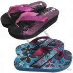 Kid's Beach Flip Flops with Glitter Upper and EVA Outsole