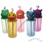 Kids Cartoon Animal Straw Cups