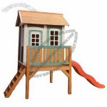 Kid's Wooden Playhouse with Slide