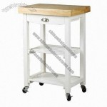 Kitchen Cart with Drawer, Shelves in White Color Made of Pine Wood