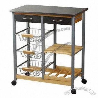 Kitchen Cart with Wire Baskets and Wooden Shelf, Stainless Steel Top