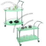 Kitchen Carts With Glass And Chrome Plating Finished Steel Frame