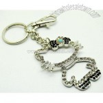 Kitty Outline Crystal Key Chain Purse Charm with Black Bow