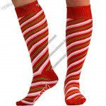 Knee High Socks - Candy Cane With Bow