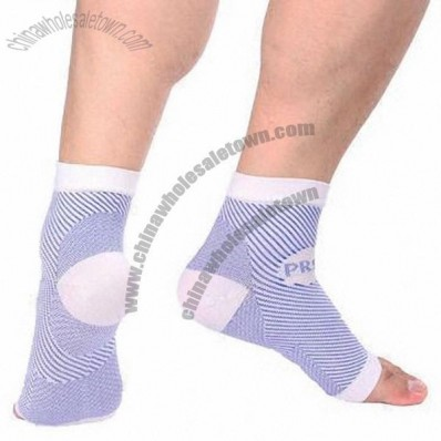 Knitted Colored Elastic Ankle Support Sock With Real Heel