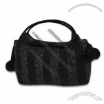 Knitted Yarn Handbags with Snap Button Closure and Pom-pom Decoration