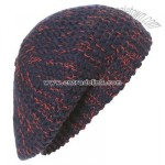 Knitted contrast thread beanie hat