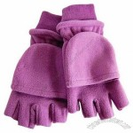 LAVENDER FLEECE HALF FINGER POCKET MITTEN GLOVES