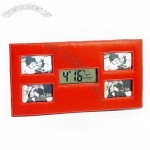 LCD Photo Frame Leather Clock