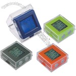 LCD alarm clock with dual time display includes back light