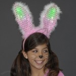 LED Flashing Light Up Bunny Ears Headband Pink and White