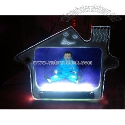 LED House Shaped Colourful Acrylic Photo Frame