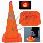 LED Light Warning Retractable Folding Traffic Cone