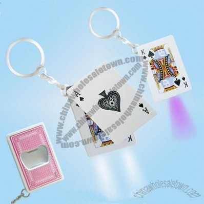 LED Playing Card Keychain Laser Torch and Bottle Opener