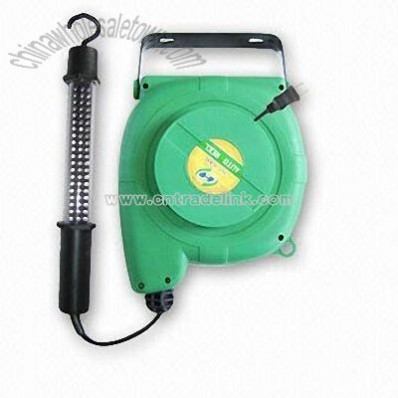LED Portable Work Light with Cord Reel and Rubber Handle