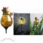 LED Solar Garden Decoration Glass Ball Light with Creative Polyresin Animal Shaped