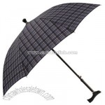 Ladies Blue Check Walking Stick Umbrella