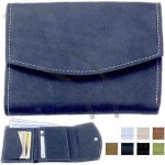 Ladies' wallet with a tri-fold snap opening and currency slide pocket
