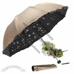 Lady Lace Princess Star Anti-UV Parasol Sun/Rain Folding Umbrella Vinyl Travel Compact