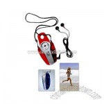 Lanyard sport radio with ear buds, belt clip and LED light