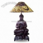 Large Wooden Desk Lamp with Buddha Sculpture Standing