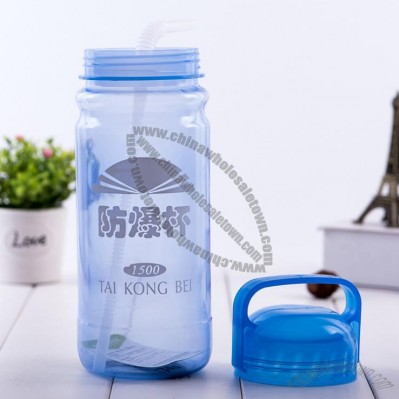 Large-capacity portable straw Water Bottle