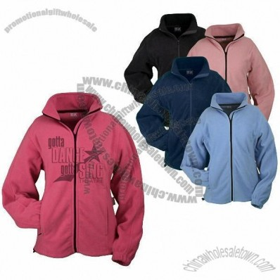 Laser Etched Full Zip Printed Fleece Jacket for Womens