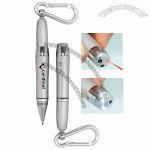 Laser Pointer / LED Light Metal Pen with Carabiner