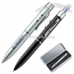 Laser pointer and flash light twist action ball point pen