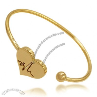 Latest Fashion Heart Charms Gold Bracelet for Women