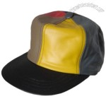 Leather Baseball Cap with Multy Coloured