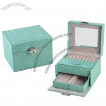 Leather Beauty Jewelry Case Jewellery Box with Drawer and Mirror