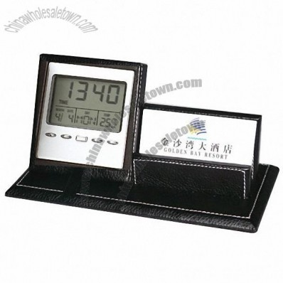 Leather Card Holder with Clock