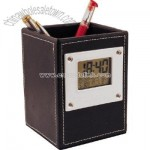 Leather Case Pen Holder Clock