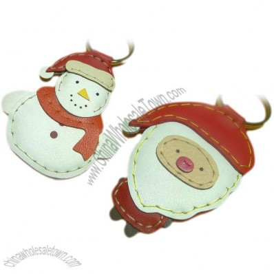 Leather Christmas Keychains - Snowman and Santa Claus
