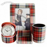 Leather Clock Gift Set