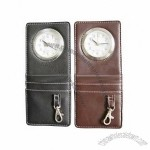 Leather Clock with Keychain / Keyring