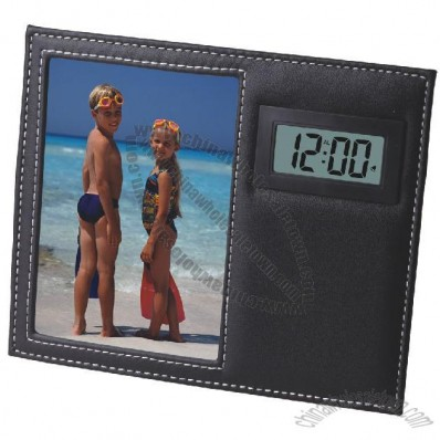 Leather Clock with LCD Diaplay and Frame