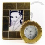 Leather Clock with Photo Frame Set