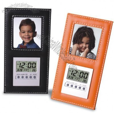 Leather Clock with Photo Frame