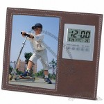 Leather Clock with Picture Frame