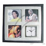 Leather Clock with Three Photo Frame