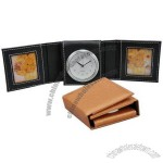 Leather Clock with Two Photo Frame