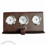 Leather Clock with thermometer and hygrometer