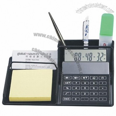 Leather Desk Organizer with Calculator